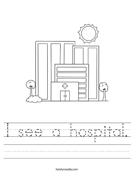 I see a hospital. Worksheet