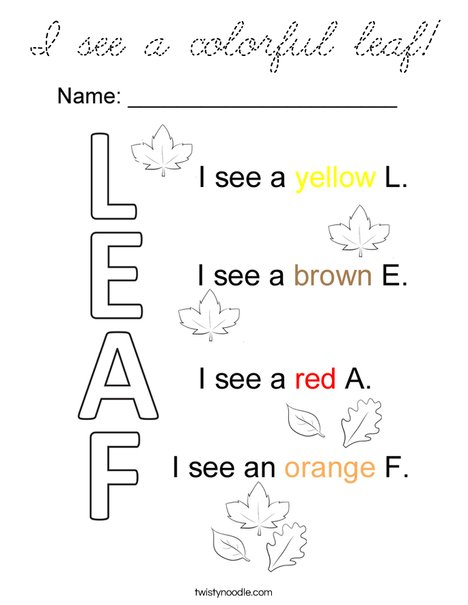 I see a leaf Coloring Page
