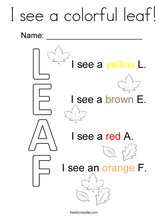I see a colorful leaf! Coloring Page