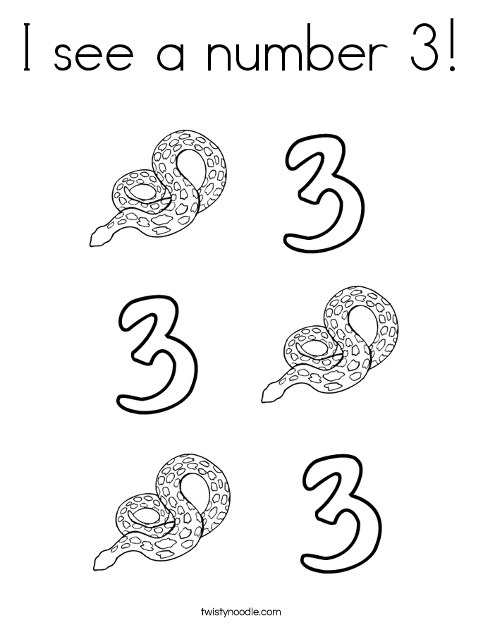 I see a number 3! Coloring Page