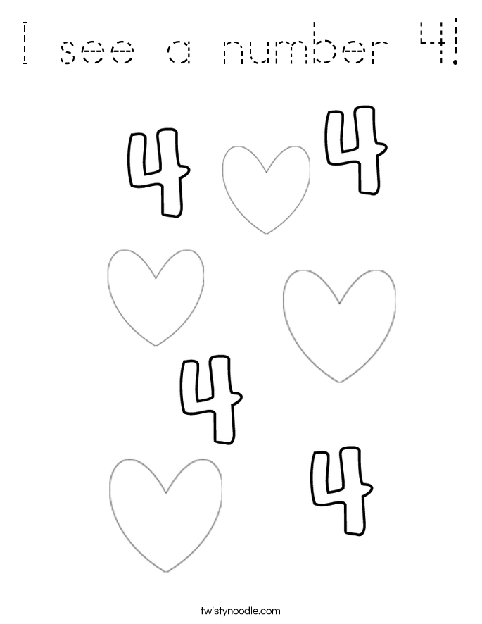I see a number 4! Coloring Page