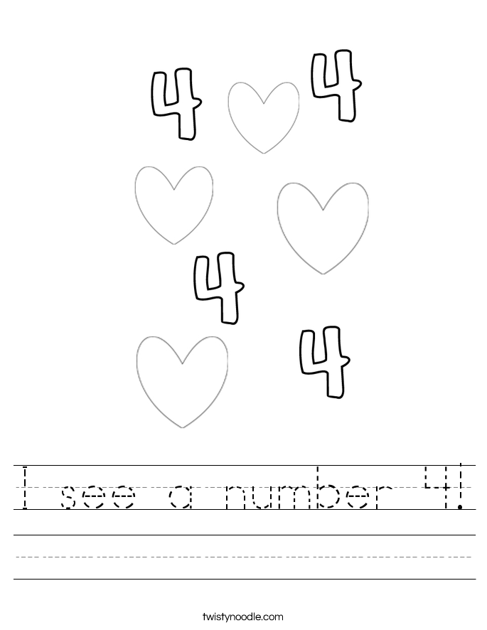 I see a number 4! Worksheet
