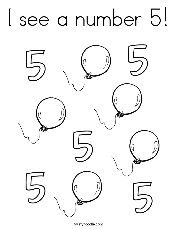 I see a number 5! Coloring Page