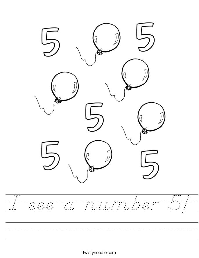 I see a number 5! Worksheet