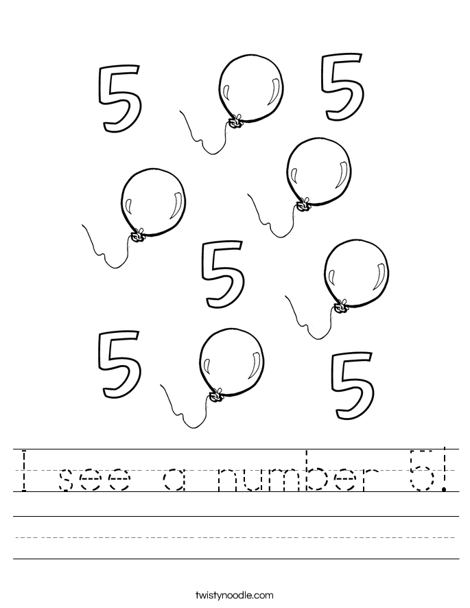 I see a number 5! Worksheet