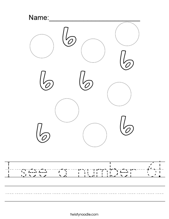 I see a number 6! Worksheet