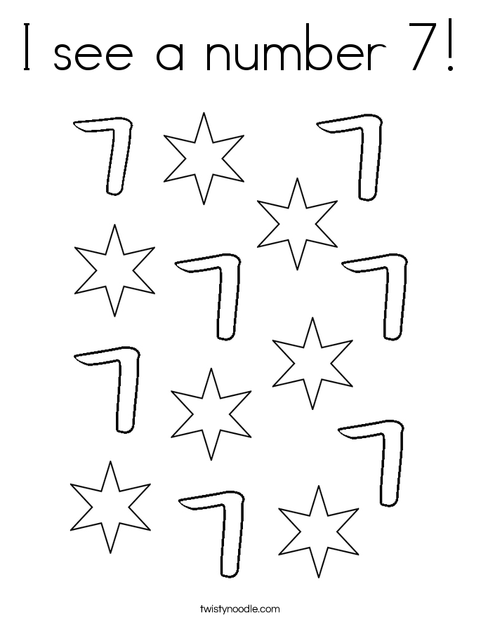 I see a number 7! Coloring Page