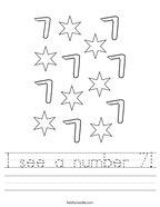 I see a number 7 Handwriting Sheet