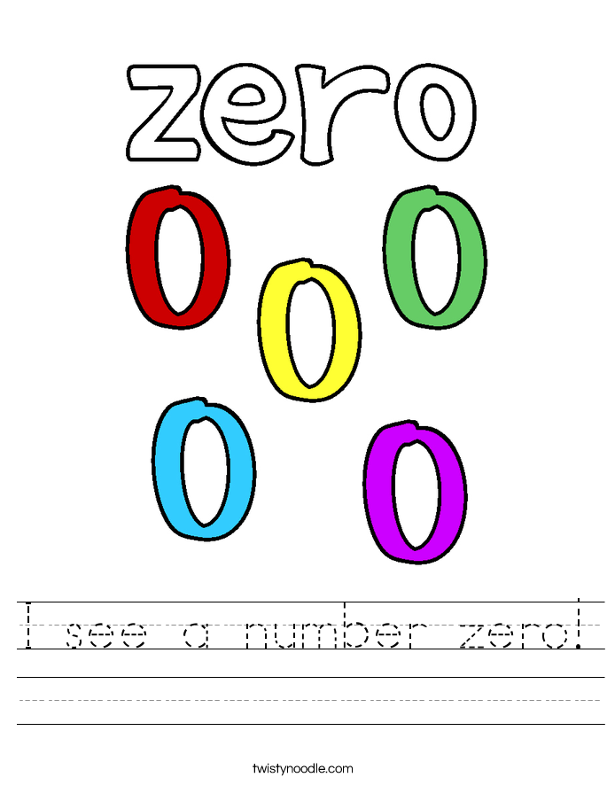 I see a number zero! Worksheet
