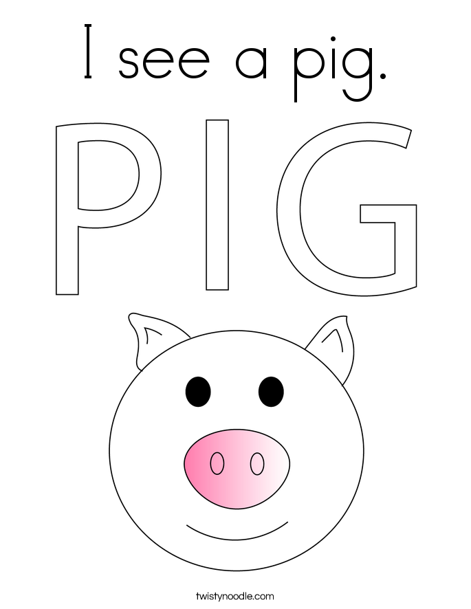 I see a pig. Coloring Page