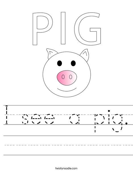 I see a pig. Worksheet