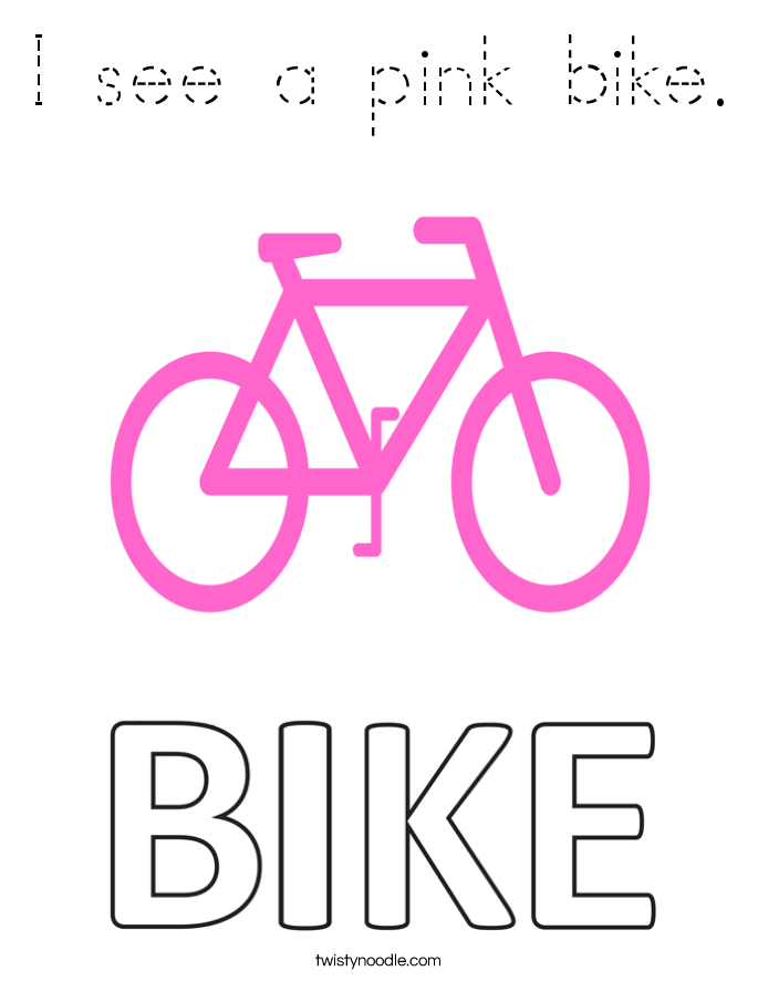 I see a pink bike. Coloring Page