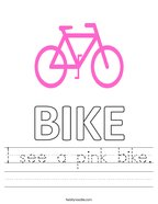 I see a pink bike Handwriting Sheet
