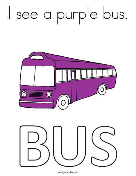 I see a purple bus. Coloring Page