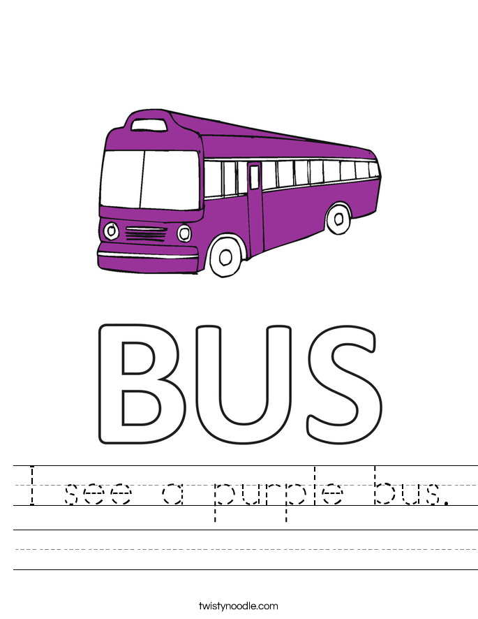 I see a purple bus. Worksheet