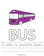 I see a purple bus Handwriting Sheet