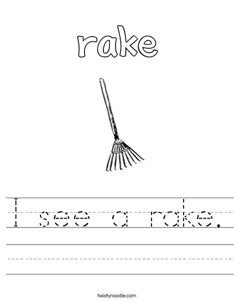 I see a rake worksheet twisty noodle for Rake coloring page