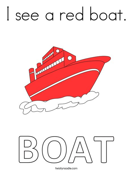 I see a red boat. Coloring Page