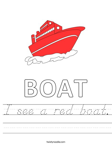 I see a red boat. Worksheet
