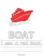 I see a red boat Handwriting Sheet