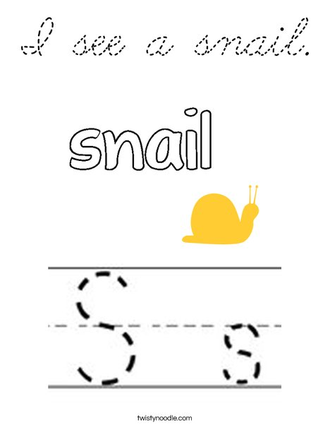 I see a snail. Coloring Page