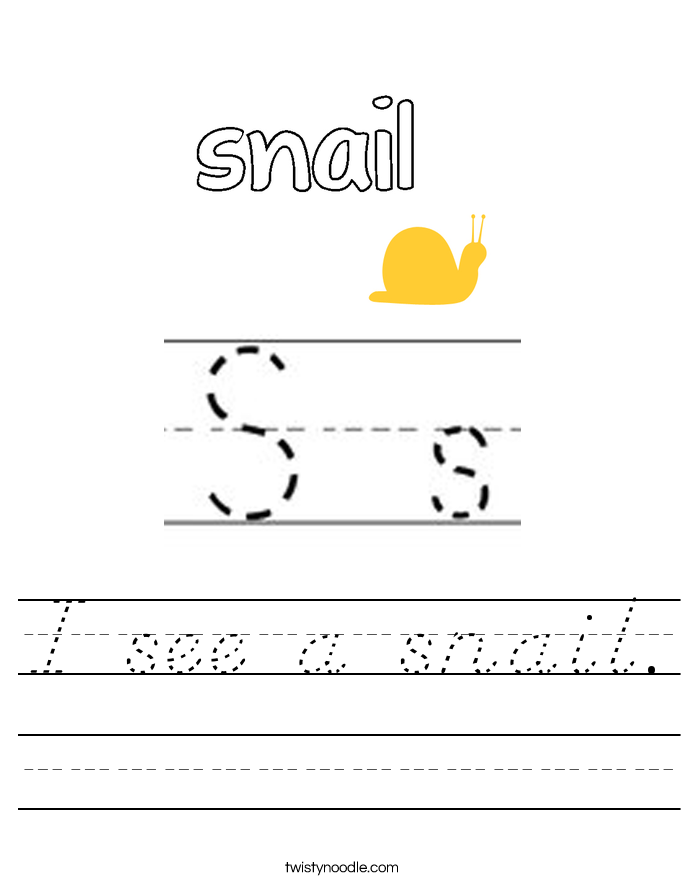 I see a snail. Worksheet