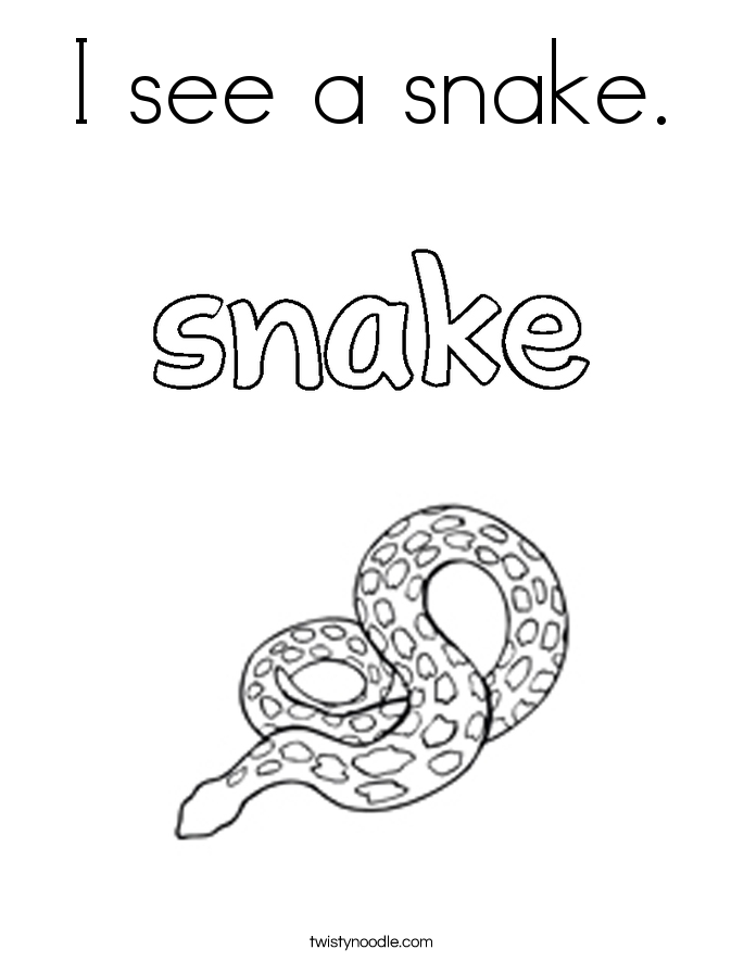 I see a snake. Coloring Page