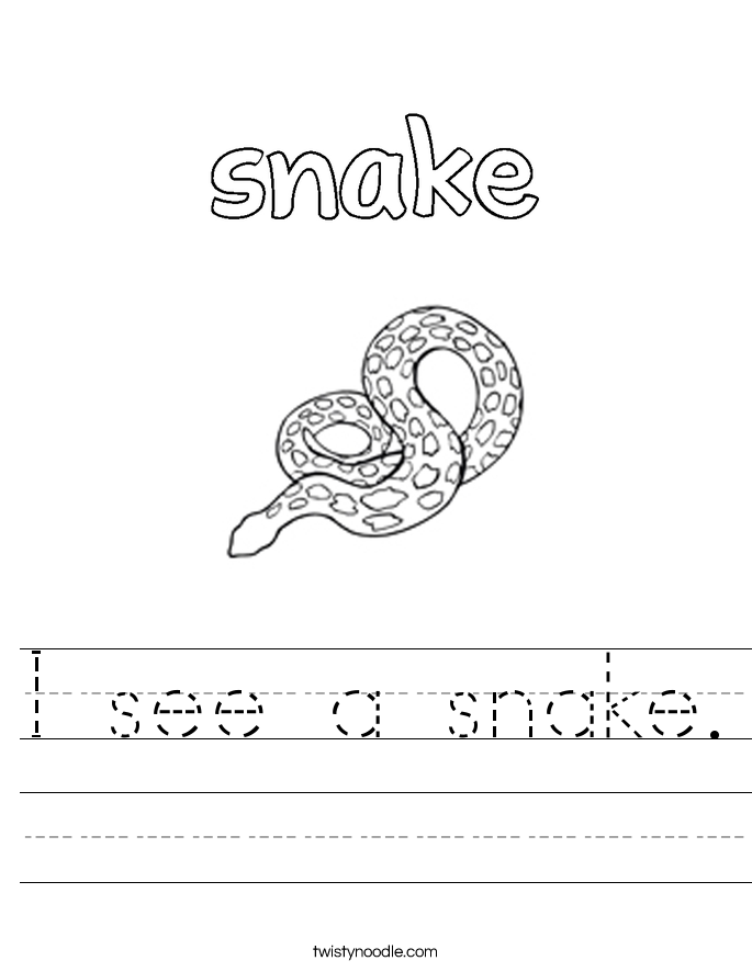 I see a snake. Worksheet