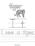 I see a tiger Handwriting Sheet