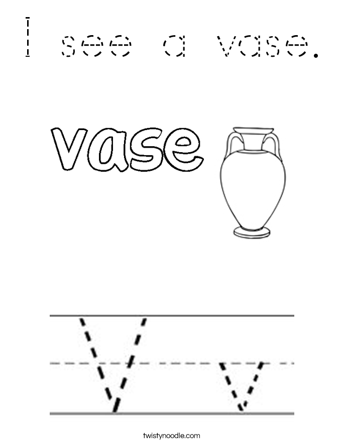 I see a vase. Coloring Page
