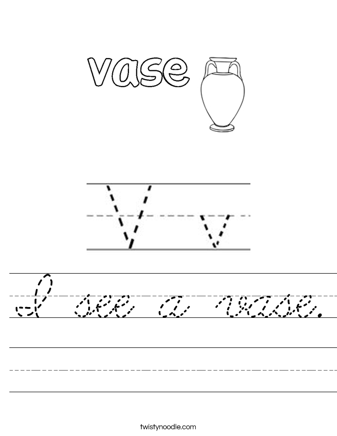 I see a vase. Worksheet
