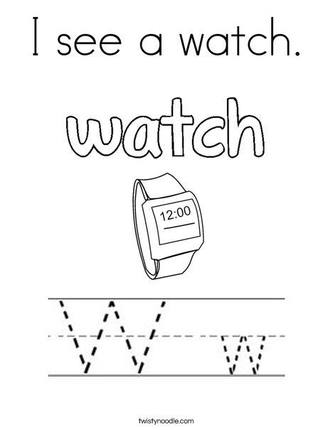 I see a watch. Coloring Page