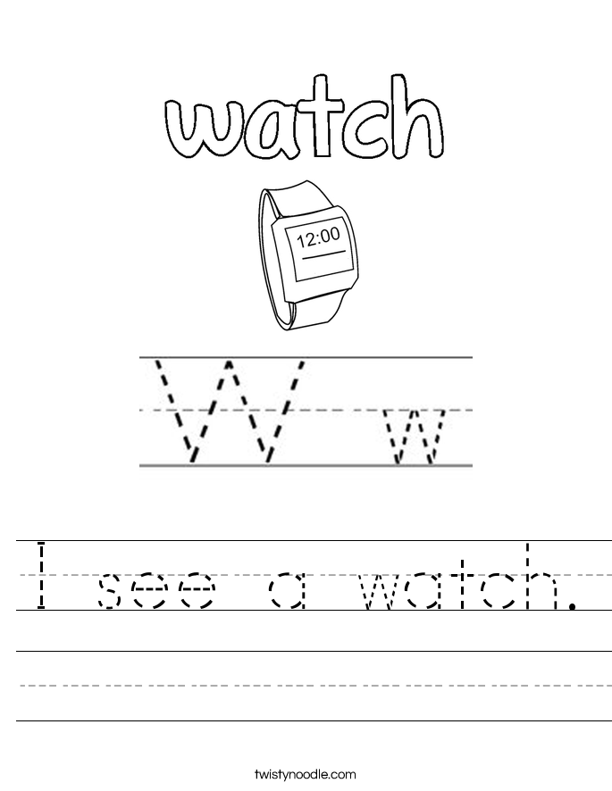 I see a watch. Worksheet