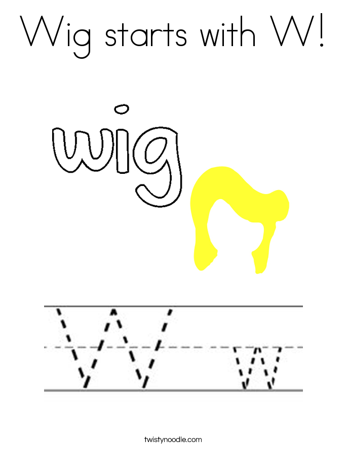 Wig starts with W! Coloring Page
