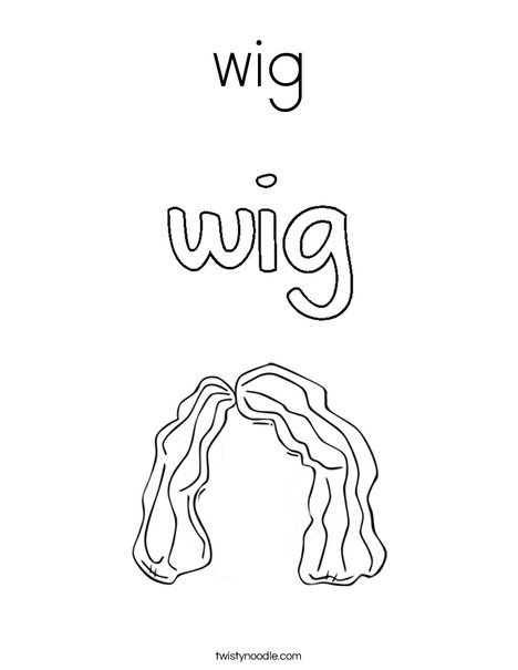 wig Coloring Page - Twisty Noodle