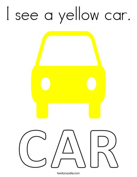 I see a yellow car. Coloring Page