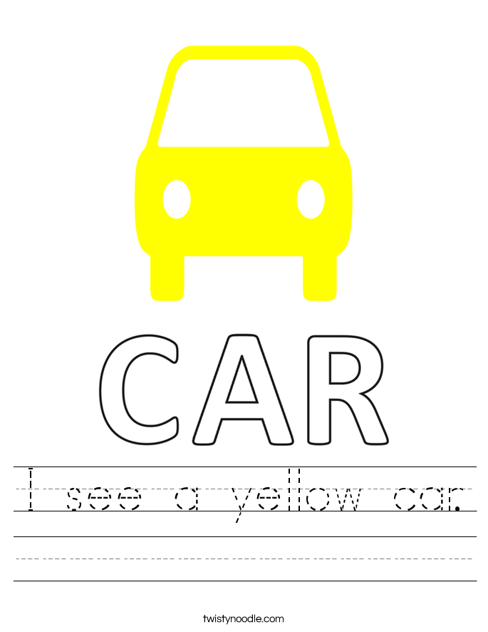 I see a yellow car. Worksheet