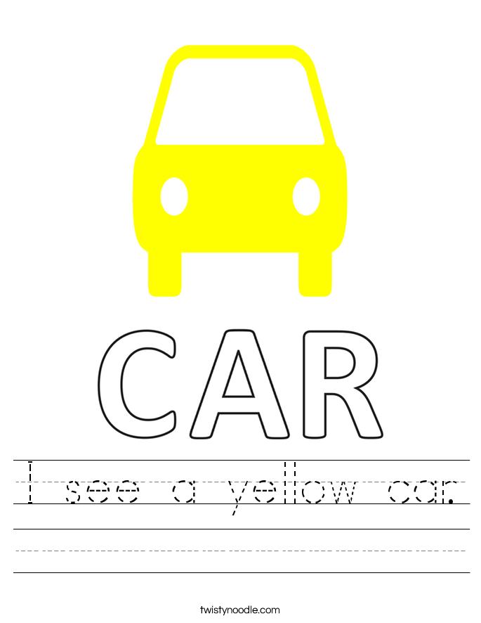 I see a yellow car. Worksheet