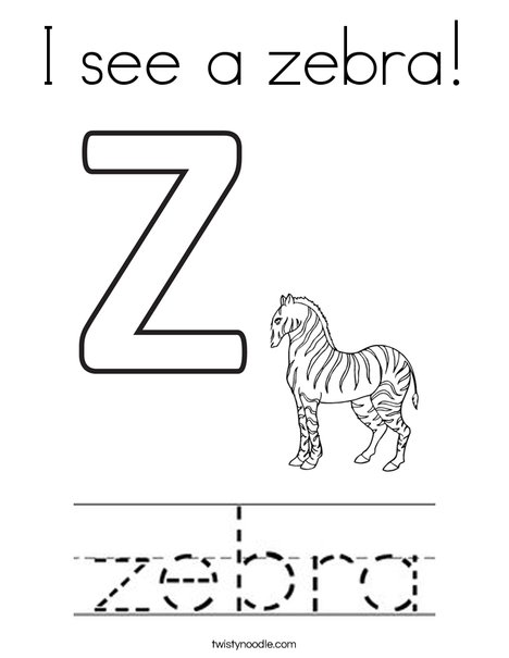 I see a zebra! Coloring Page