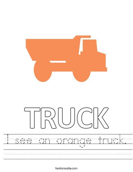 I see an orange truck. Worksheet