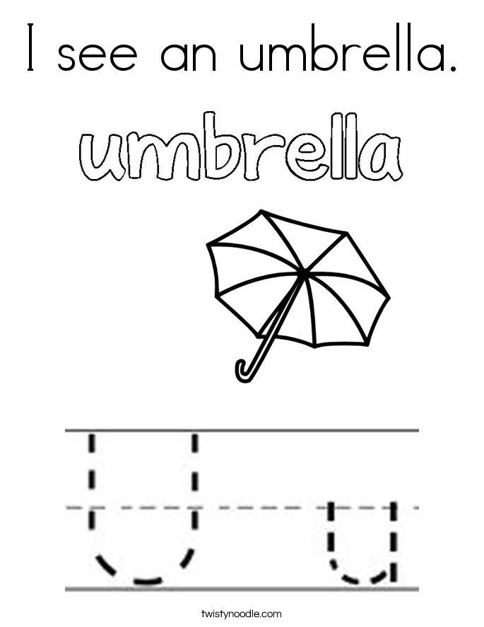 I see an umbrella. Coloring Page