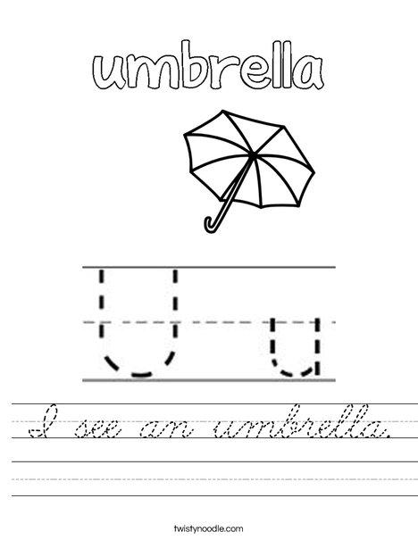 I see an umbrella. Worksheet