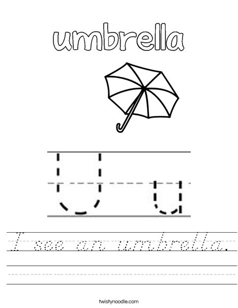 I see an umbrella. Worksheet
