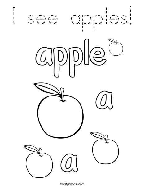 I see apples coloring page tracing twisty noodle for Preschool apple coloring pages