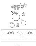 I see apples Handwriting Sheet