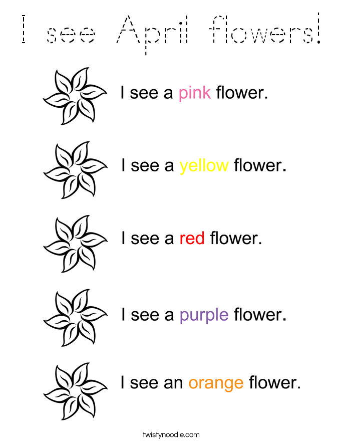 I see April flowers! Coloring Page