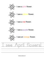 I see April flowers Handwriting Sheet