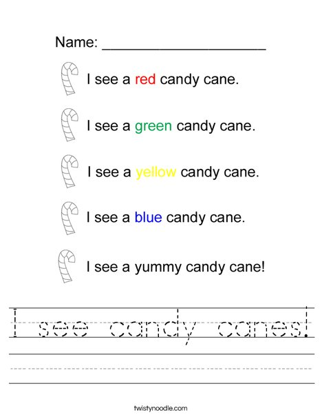 I see candy canes! Worksheet