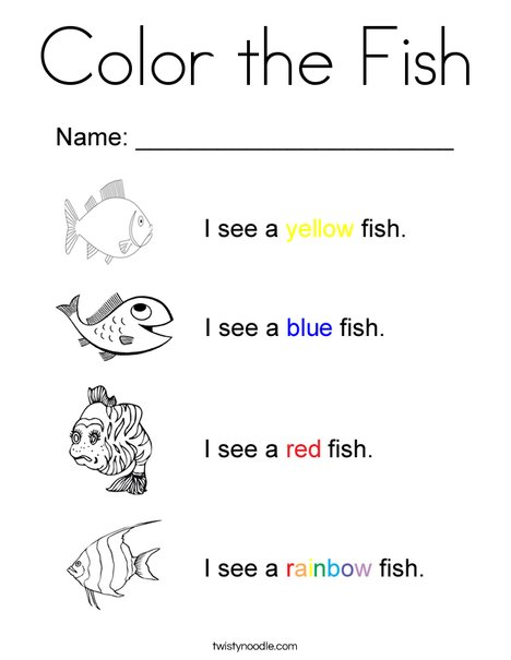 I See Colorful Fish Coloring Page