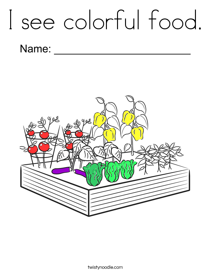 I see colorful food. Coloring Page